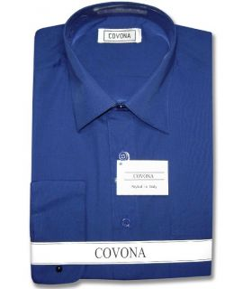Mens Royal Blue Dress Shirt Cnvrtbl Cuffs 17 1 2 32 33