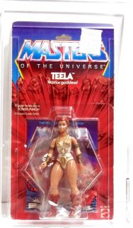 He Man MOTU Masters Mattel Teela 8 Back MOC AFA 80 Clear Early