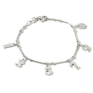 Sterling Silver Number Charms 7 1 2 Bracelet