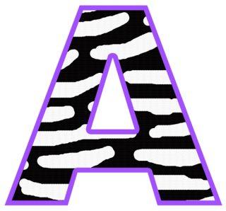 Purple Black Zebra Alphabet Letter Name Teen Jungle Safari Wall