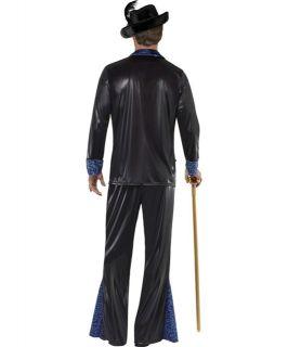 Mens 70s Black Pimp Daddy Fancy Dress Costume Medium Large