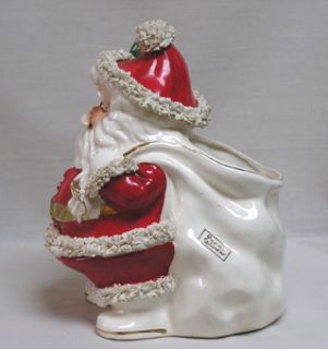 Fab Vintage Christmas Large Napco Santa Planter Spaghetti Art Good