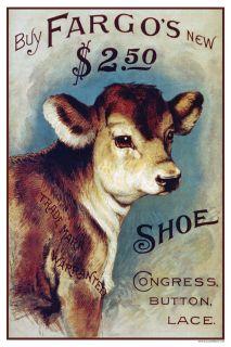Retro Fargos Congress Button Lace Shoes Advertising Poster