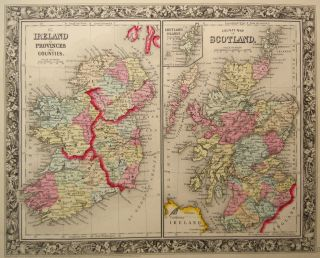 Genuine Antique Maps of Ireland Scotland A Mitchell 1860