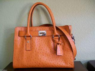 348 MICHAEL KORS Ostrich E W Hamilton Leather Satchel bag Tangerine