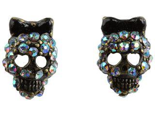 Betsey Johnson Dark Forest Small Skull Stud Earrings