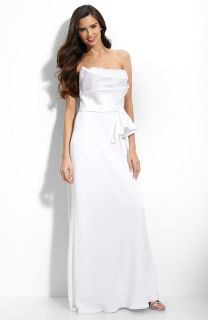 ABS Allen Schwartz Ruffle Trim Satin Gown Wedding 10