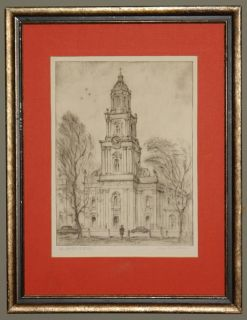 Max Fernekes Etching St John's Cathedral Milwaukee