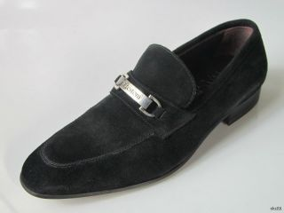 New Mens A Testoni Black Suede Dress Loafers Shoes