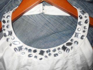 Essentials ABS Allen Schwartz Ivory Rhinestone Embellished Halter