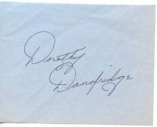 Dorothy Dandridge Vintage 1960s Original Signed Album Page Autographed