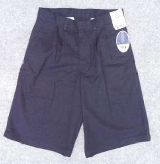 NWT Abingdon Boys Navy Blue Double Pleated School Uniform Shorts Size