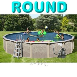 24ft Above Ground Round Swimming Pool Package Set