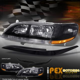 Eyelid Cover 1998 2002 Honda Accord JDM Black Head Light Lamp