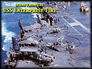 USS Enterprise 1969 Fire Aircraft Carrier Navy Vietnam