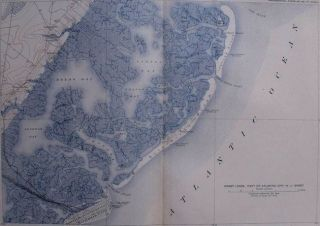 Map Brigantine Beach Reeds Absecon Bay Atlantic City New Jersey