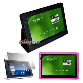 for acer iconia a500 tablet leather case+ pink skin cover+lcd film