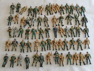Lot of 65 Army Men Soldiers Action Figures 4 inches Tall Pose Able