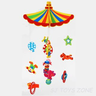 Wooden Circus Mobile Toy Over Baby Bed / Cot * Nursery Room Decoration