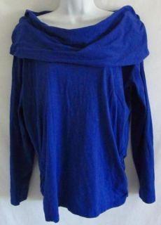 LUCY ACTIVEWEAR Cowl Neck Hoodie Dark Blue XL Ruching Shirt Top 100%