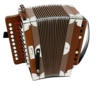 Cajun Style Ariette Key of C Button Accordion w Case Natural