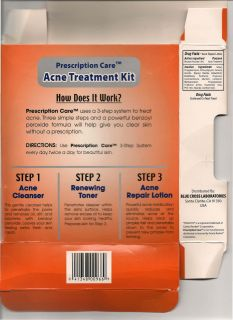 BLUE CROSS LABORATORIES * PRESCRIPTION CARE *ACNE TREATMENT KIT