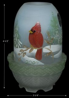 Fenton Cardinal Hand Painted 2007 L E Christmas Faiiry Light Lamp