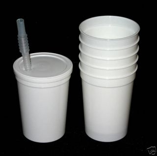 12 White Plastic Drinking Glasses Lids Straws Cups