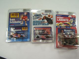 action racing collectibles 3 nascar die cast cars mib