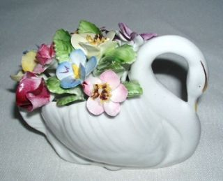 royal adderley bone china swan floral basket