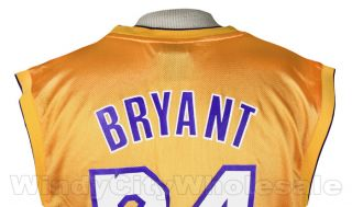 Lakers Kobe Bryant Jersey Adidas NBA Basketball Yellow
