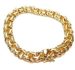 VINTAGE 14K GOLD SOLID DOUBLE LINK CHARM BRACELET @27+GRAMS