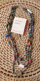 African Jewelry Beads Glass Seeds Paper 3 Strand Necklace Kenya Fair