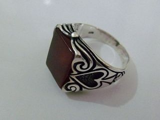 925 Sterling Silver Mens Agate Ring Poker Spades Motif New