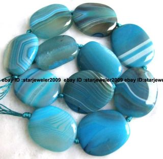 blue stripe agate 21x30mm flat smooth beads 16 high quality