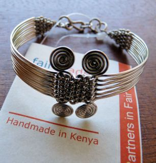 African Jewelry Silver Double Coil Wire Bracelet Kenya