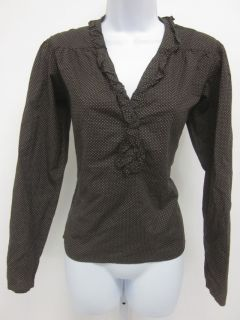 AGNES B. Brown Polka Dotted Long Sleeve Ruffled Trim V Neck Blouse Top