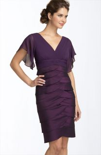 Adrianna Papell Flutter Sleeve Tiered Dress Pansy Purple 2