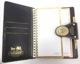 New Auth Coach Black Gold Tone Leather Planner Agenda