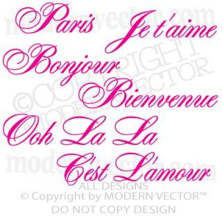 Quotes Vinyl Wall Decals Ooh La La Je Taime Bonjour Bienvenue