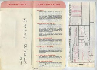 Jet National Airline Ticket Jacket Boarding Pass 1967