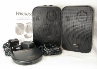 Advent AW400 Wireless Speakers Bookshelf w Orig Manual 900MHz Complete