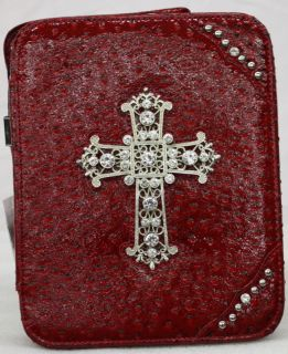 Montana West Collection Ostrich Embossed Bible Cover Metal Cross