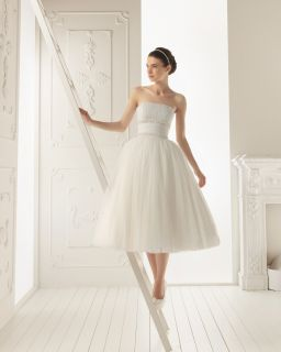 Strapless Short Tea Length Wedding Dress Calf Length Ballgown Bridal