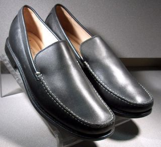 & Murphy Mens Shoes Black Leather Ainsworth Venetian Loafers 9.5M
