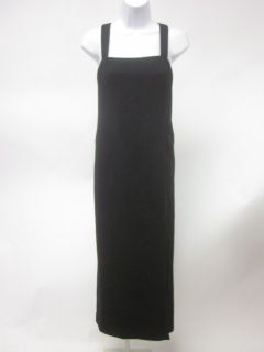 FRANK AGOSTINO Black Wool Spaghetti Strap Front Slit Full Length Dress