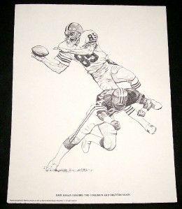 NFL Cleveland Browns Football Sketches Prints Set 6 K Akins