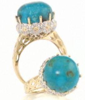 Heritage Gems 14K Turtle Back Turquoise and Diamond Ring Size 8
