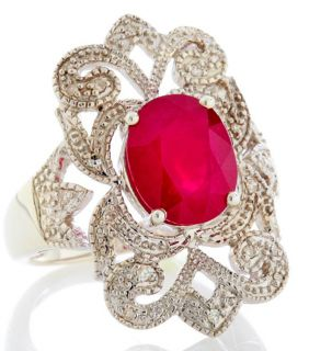 Rarities Fine Jewelry with Carol Brodie Ruby Diamond Sterling Ring Sz
