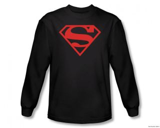 Superman Red On Black Shield Officially Licensed Long Sleeve Shirt S